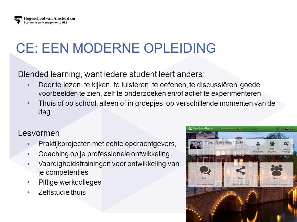 Blended learning, want iedere student leert anders: Door te lezen, te kijken, te luisteren, te oefenen, te discussiëren, goede voorbeelden te zien, ze