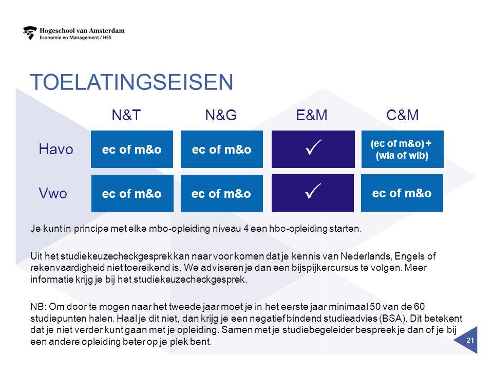 TOELATINGSEISEN 21 E&MC&MN&TN&G ec of m&o  (ec of m&o) + (wia of wib) Havo Vwo  Je kunt in principe met elke mbo-opleiding niveau 4 een hbo-opleidin