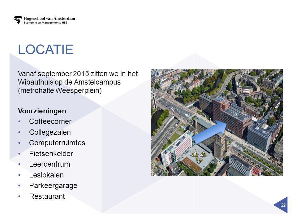LOCATIE Vanaf september 2015 zitten we in het Wibauthuis op de Amstelcampus (metrohalte Weesperplein) Voorzieningen Coffeecorner Collegezalen Computer