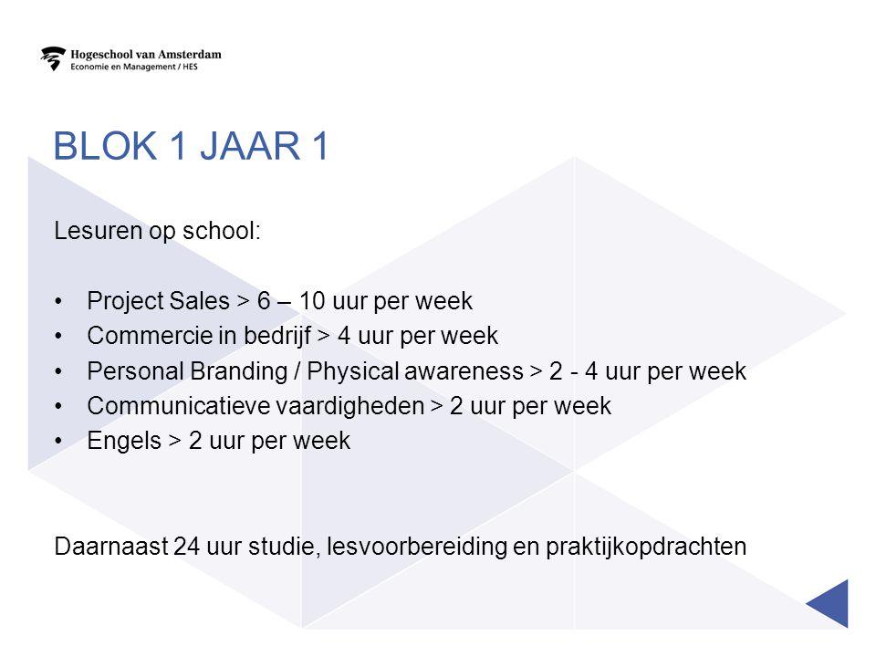 BLOK 1 JAAR 1 Lesuren op school: Project Sales > 6 – 10 uur per week Commercie in bedrijf > 4 uur per week Personal Branding / Physical awareness > 2