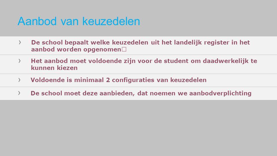 › De school bepaalt welke keuzedelen uit het landelijk register in het aanbod worden opgenomen › Het aanbod moet voldoende zijn voor de student om daa