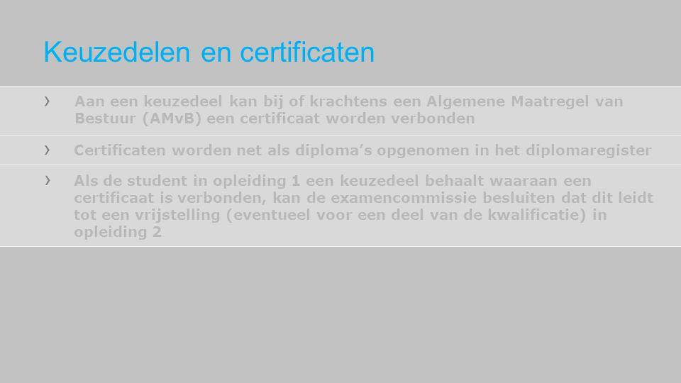 Aan een keuzedeel kan bij of krachtens een Algemene Maatregel van Bestuur (AMvB) een certificaat worden verbonden Certificaten worden net als diploma'