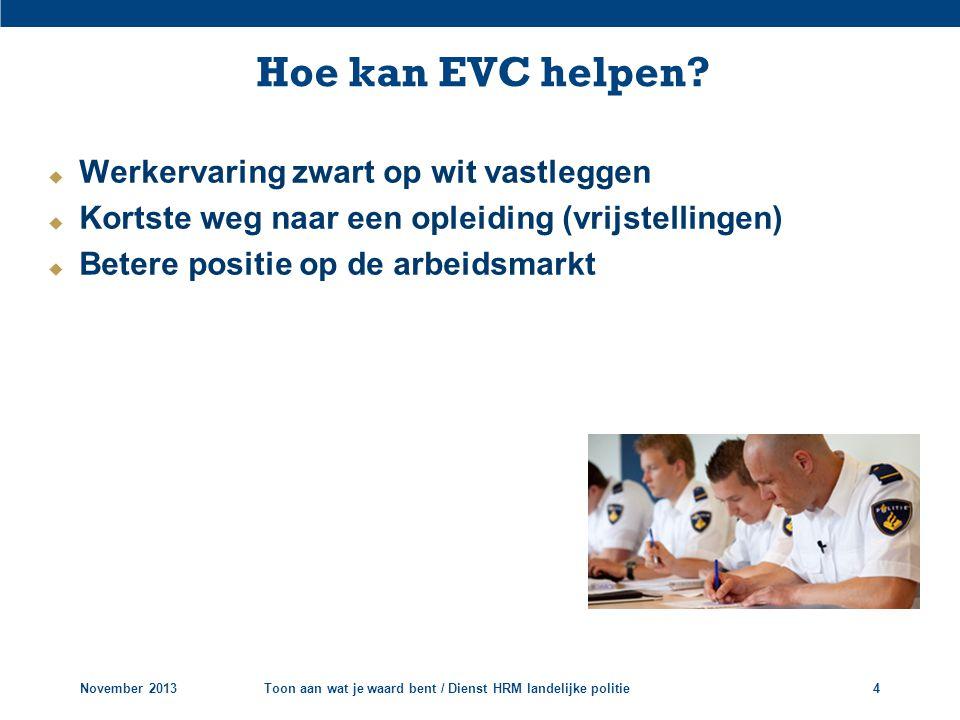  Werkervaring zwart op wit vastleggen  Kortste weg naar een opleiding (vrijstellingen)  Betere positie op de arbeidsmarkt Hoe kan EVC helpen? Novem
