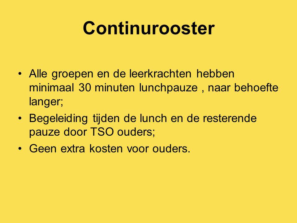 Continurooster Alle groepen en de leerkrachten hebben minimaal 30 minuten lunchpauze, naar behoefte langer; Begeleiding tijden de lunch en de resteren