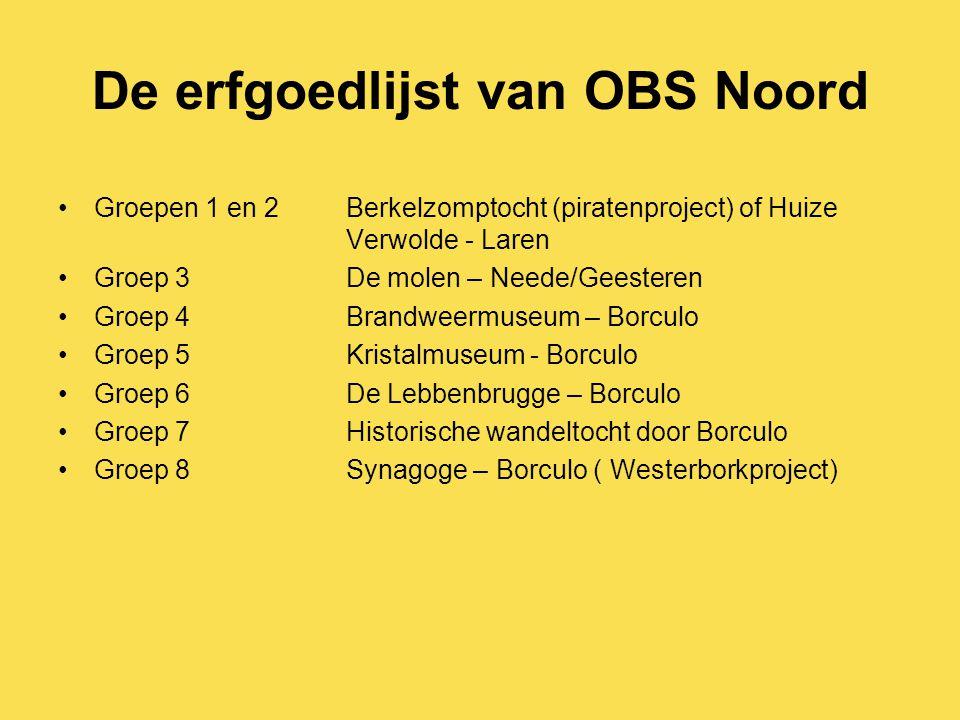 De erfgoedlijst van OBS Noord Groepen 1 en 2Berkelzomptocht (piratenproject) of Huize Verwolde - Laren Groep 3De molen – Neede/Geesteren Groep 4Brandw
