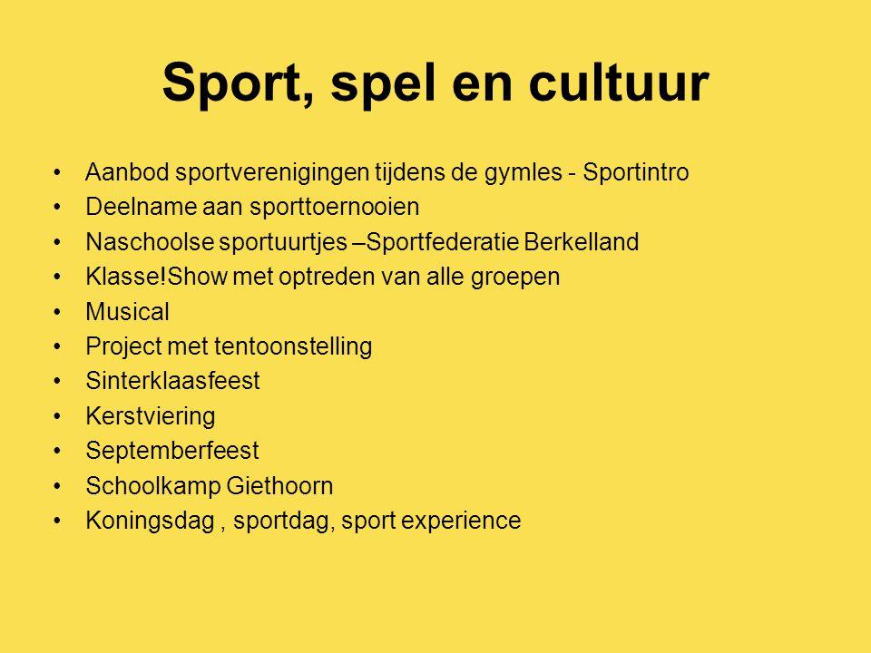 Sport, spel en cultuur Aanbod sportverenigingen tijdens de gymles - Sportintro Deelname aan sporttoernooien Naschoolse sportuurtjes –Sportfederatie Be