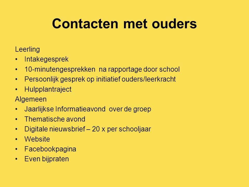 Contacten met ouders Leerling Intakegesprek 10-minutengesprekken na rapportage door school Persoonlijk gesprek op initiatief ouders/leerkracht Hulppla
