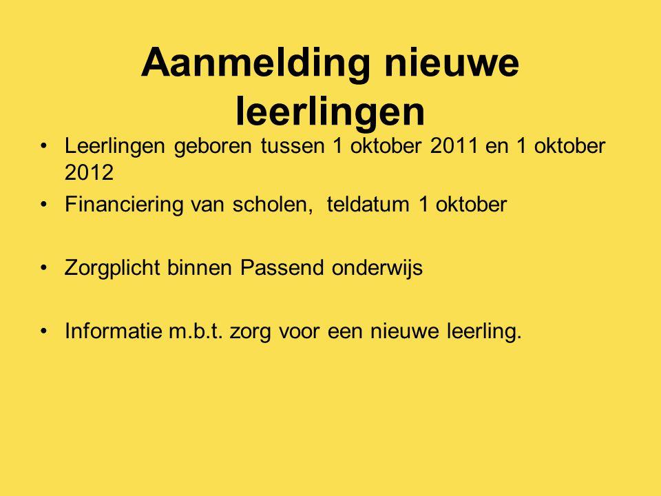 Aanmelding nieuwe leerlingen Leerlingen geboren tussen 1 oktober 2011 en 1 oktober 2012 Financiering van scholen, teldatum 1 oktober Zorgplicht binnen