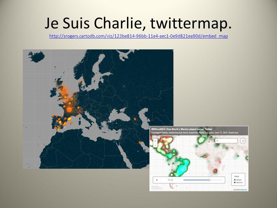 Je Suis Charlie, twittermap. http://srogers.cartodb.com/viz/123be814-96bb-11e4-aec1-0e9d821ea90d/embed_map http://srogers.cartodb.com/viz/123be814-96b