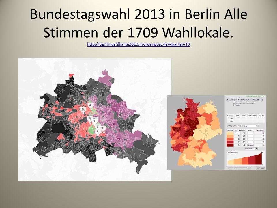 Bundestagswahl 2013 in Berlin Alle Stimmen der 1709 Wahllokale. http://berlinwahlkarte2013.morgenpost.de/#partei=13 http://berlinwahlkarte2013.morgenp