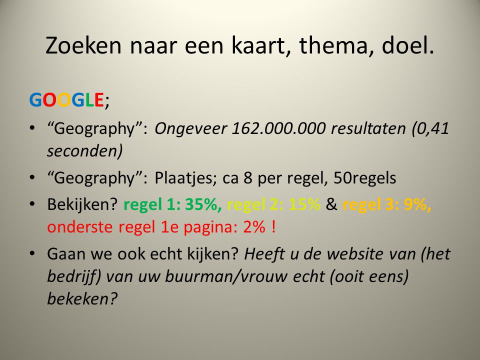"""Zoeken naar een kaart, thema, doel. GOOGLE; """"Geography"""": Ongeveer 162.000.000 resultaten (0,41 seconden) """"Geography"""": Plaatjes; ca 8 per regel, 50rege"""
