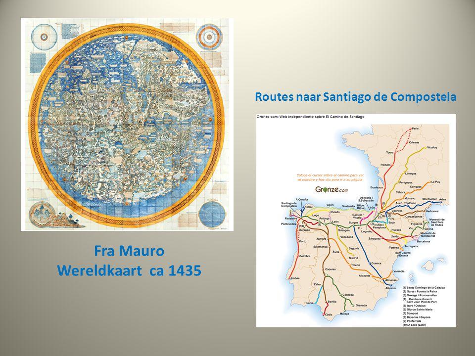 Routes naar Santiago de Compostela Fra Mauro Wereldkaart ca 1435