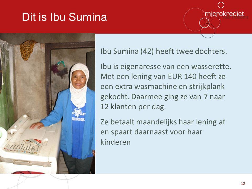 Dit is Ibu Sumina Ibu Sumina (42) heeft twee dochters. Ibu is eigenaresse van een wasserette. Met een lening van EUR 140 heeft ze een extra wasmachine