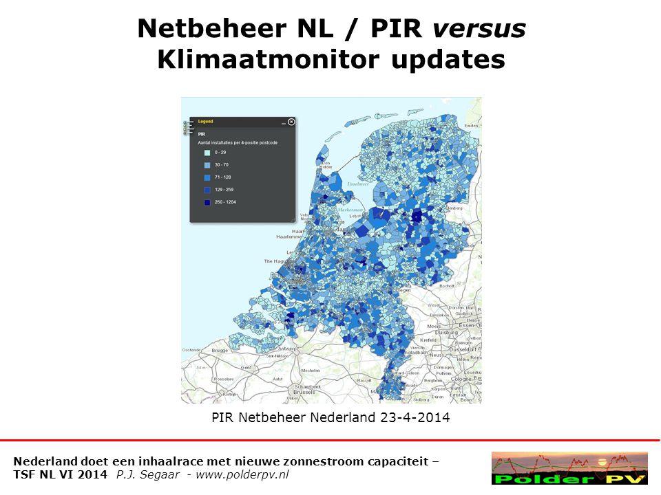 Netbeheer NL / PIR versus Klimaatmonitor updates Nederland doet een inhaalrace met nieuwe zonnestroom capaciteit – TSF NL VI 2014 P.J.
