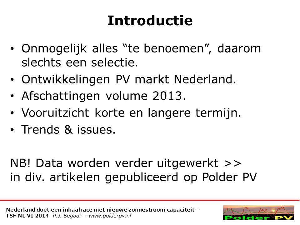 Ontwikkelingen PV in agrarische sector: segmentatie aantallen bedrijven Nederland doet een inhaalrace met nieuwe zonnestroom capaciteit – TSF NL VI 2014 P.J.