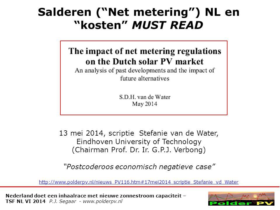 Salderen ( Net metering ) NL en kosten MUST READ Nederland doet een inhaalrace met nieuwe zonnestroom capaciteit – TSF NL VI 2014 P.J.