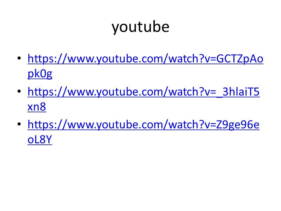 youtube https://www.youtube.com/watch?v=GCTZpAo pk0g https://www.youtube.com/watch?v=GCTZpAo pk0g https://www.youtube.com/watch?v=_3hlaiT5 xn8 https:/