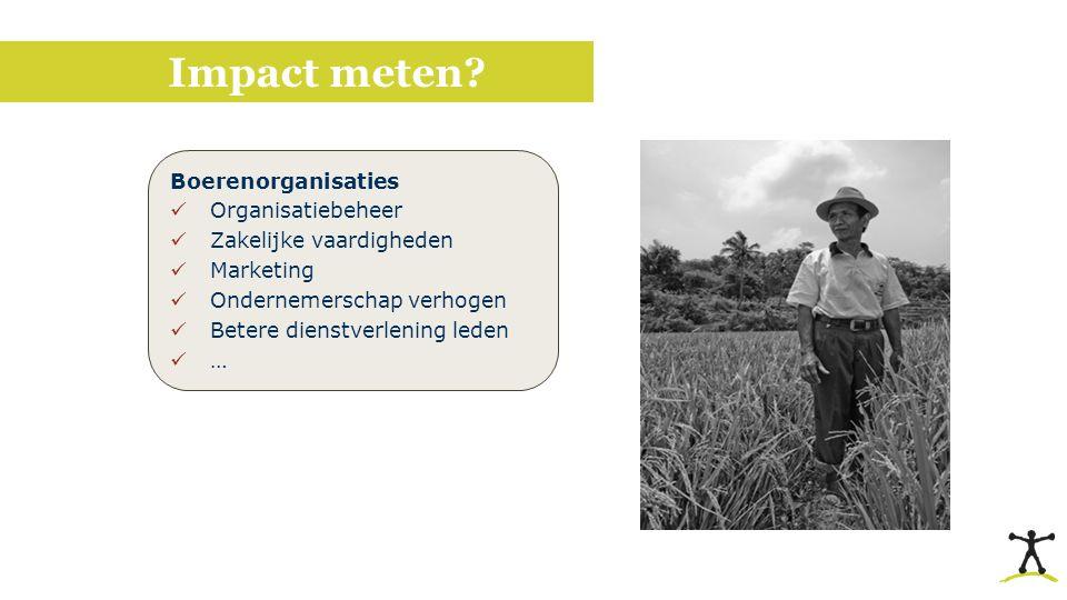 Impact meten? Boerenorganisaties Organisatiebeheer Zakelijke vaardigheden Marketing Ondernemerschap verhogen Betere dienstverlening leden …
