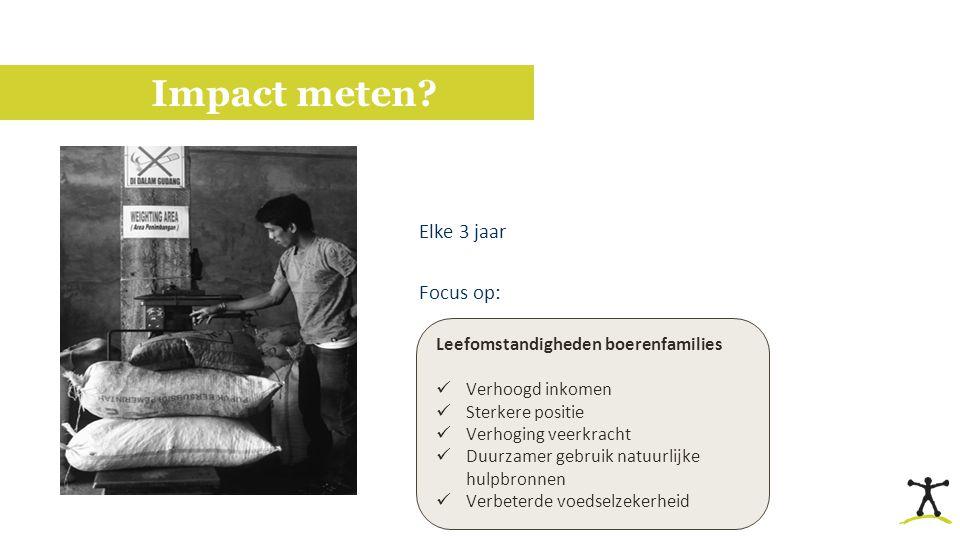 Impact meten? Elke 3 jaar Focus op: -Inkomen -Leefomstandigheden -Ondernemerscapaciteiten Leefomstandigheden boerenfamilies Verhoogd inkomen Sterkere