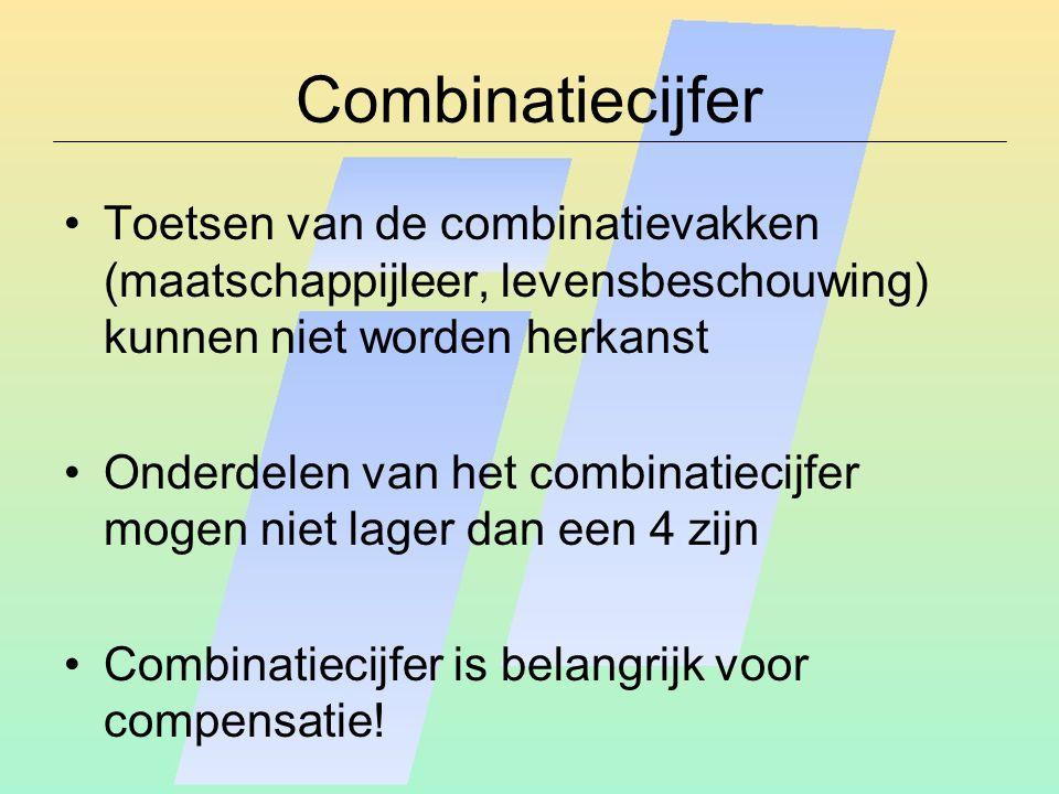 Combinatiecijfer Toetsen van de combinatievakken (maatschappijleer, levensbeschouwing) kunnen niet worden herkanst Onderdelen van het combinatiecijfer