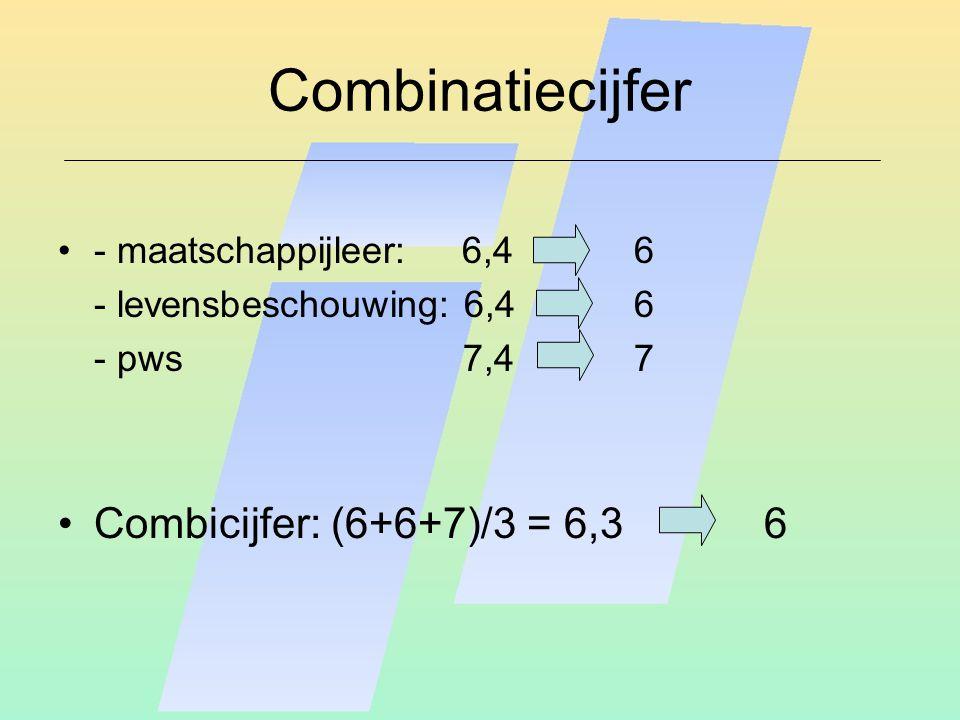 Combinatiecijfer - maatschappijleer: 6,46 - levensbeschouwing: 6,46 - pws 7,4 7 Combicijfer: (6+6+7)/3 = 6,3 6