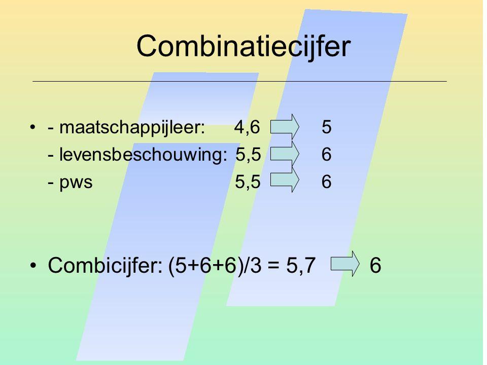 Combinatiecijfer - maatschappijleer: 4,65 - levensbeschouwing: 5,56 - pws 5,5 6 Combicijfer: (5+6+6)/3 = 5,7 6