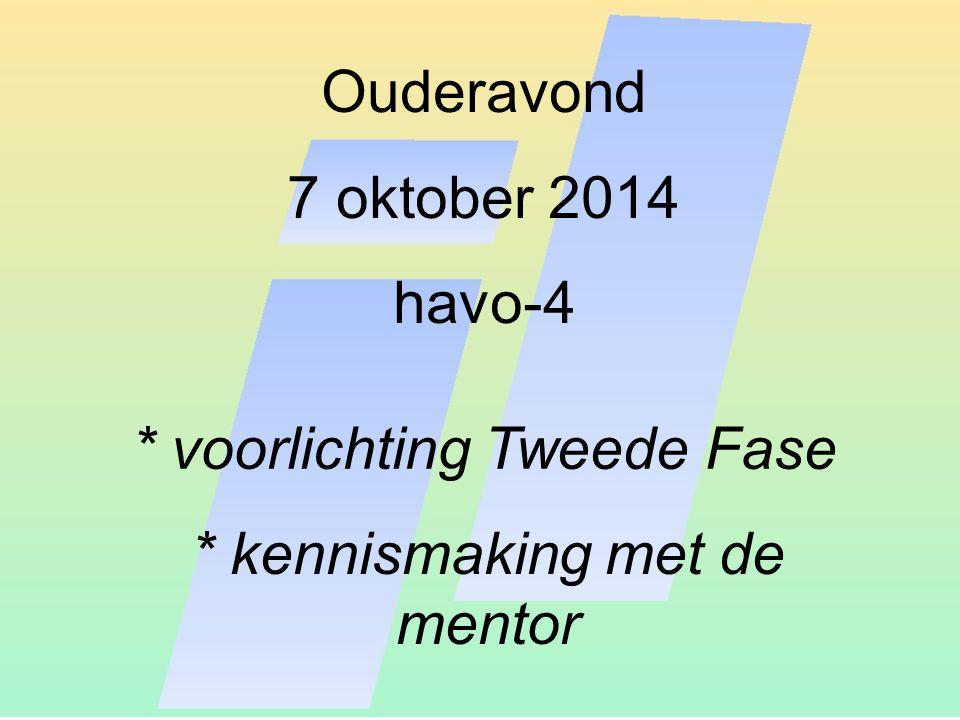 Ouderavond 7 oktober 2014 havo-4 * voorlichting Tweede Fase * kennismaking met de mentor