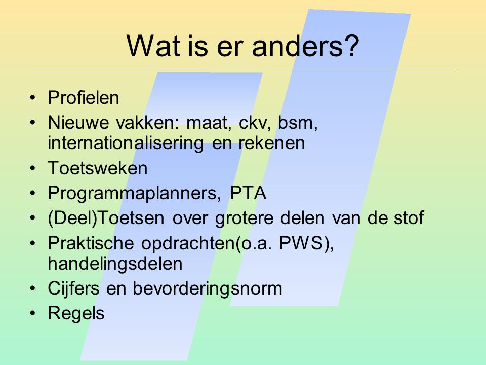 Wat is er anders.