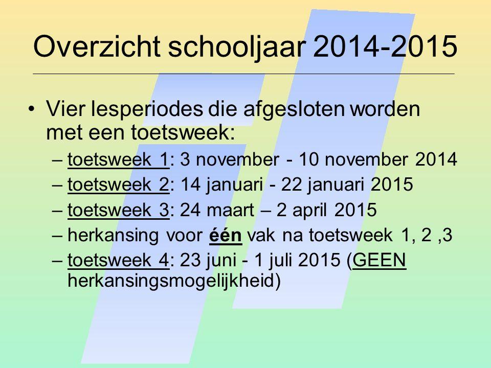 Overzicht schooljaar 2014-2015 Vier lesperiodes die afgesloten worden met een toetsweek: –toetsweek 1: 3 november - 10 november 2014 –toetsweek 2: 14