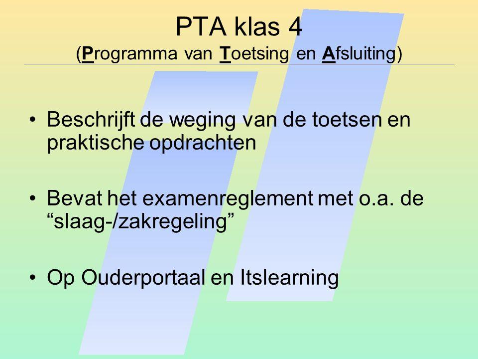 """PTA klas 4 (Programma van Toetsing en Afsluiting) Beschrijft de weging van de toetsen en praktische opdrachten Bevat het examenreglement met o.a. de """""""