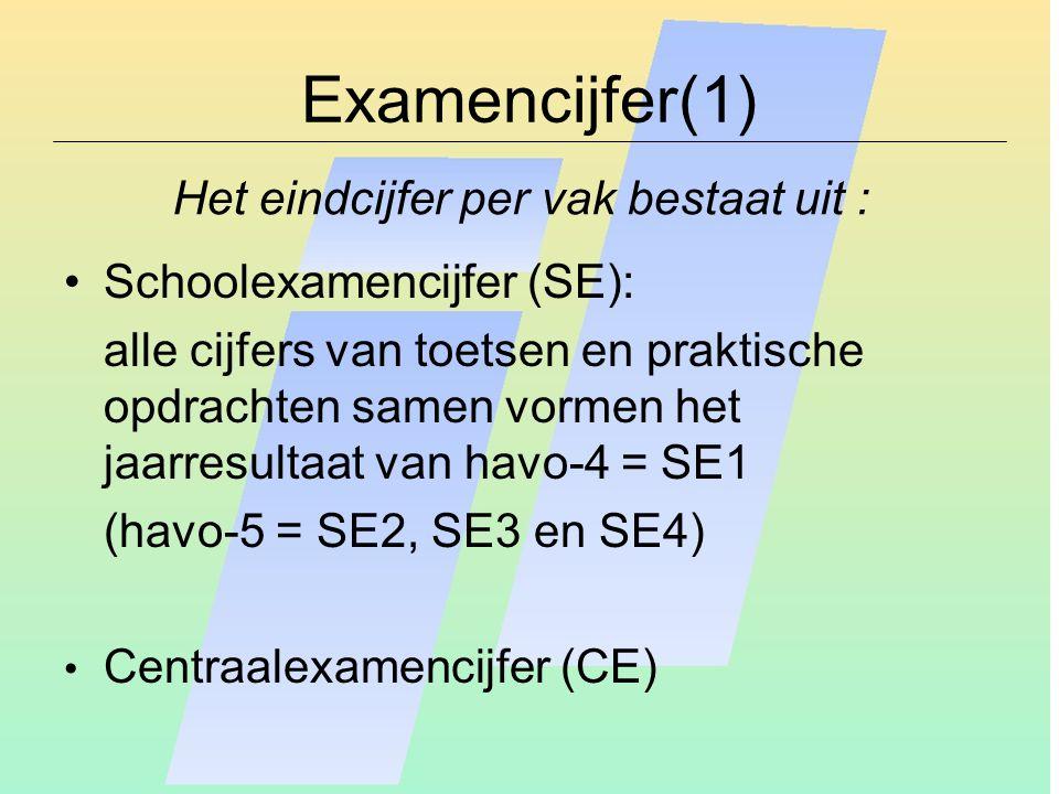 Examencijfer(1) Schoolexamencijfer (SE): alle cijfers van toetsen en praktische opdrachten samen vormen het jaarresultaat van havo-4 = SE1 (havo-5 = S