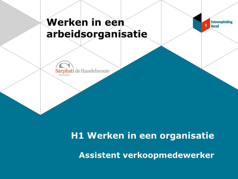 Werken in een arbeidsorganisatie H1 Werken in een organisatie Assistent verkoopmedewerker