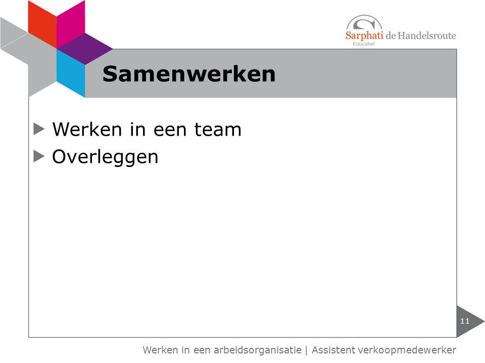 Werken in een arbeidsorganisatie | Assistent verkoopmedewerker Werken in een team Overleggen 11 Samenwerken