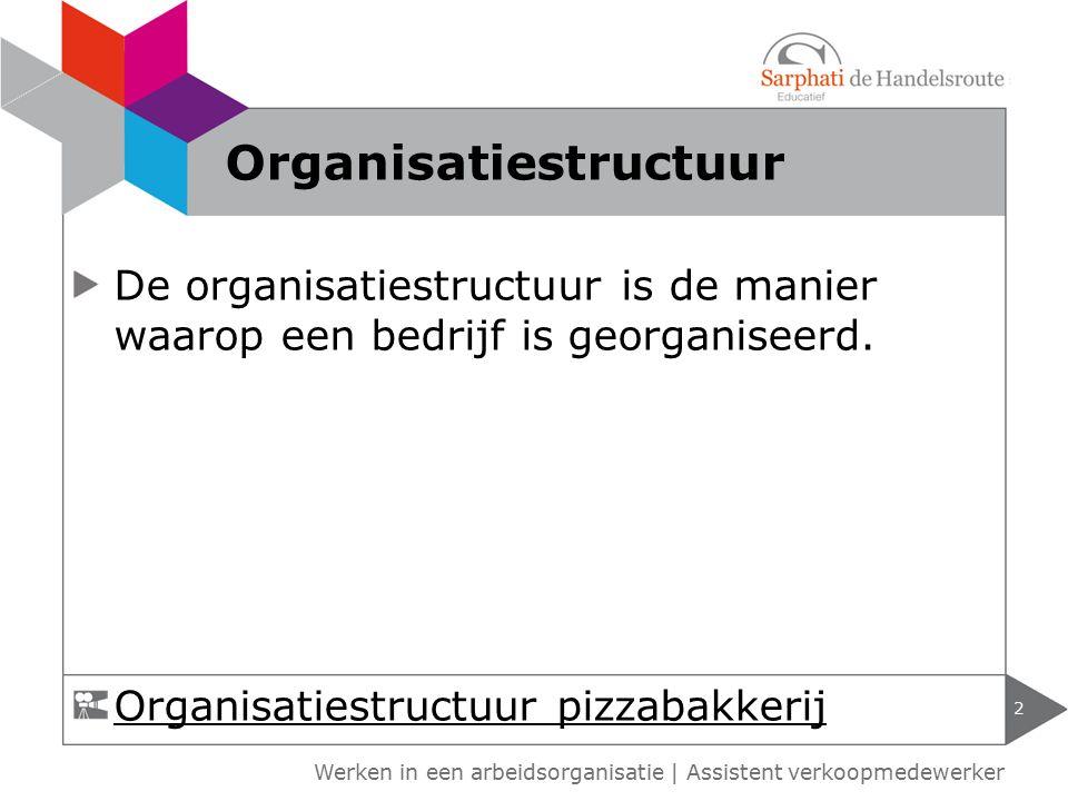 Werken in een arbeidsorganisatie | Assistent verkoopmedewerker De organisatiestructuur is de manier waarop een bedrijf is georganiseerd. 2 Organisatie