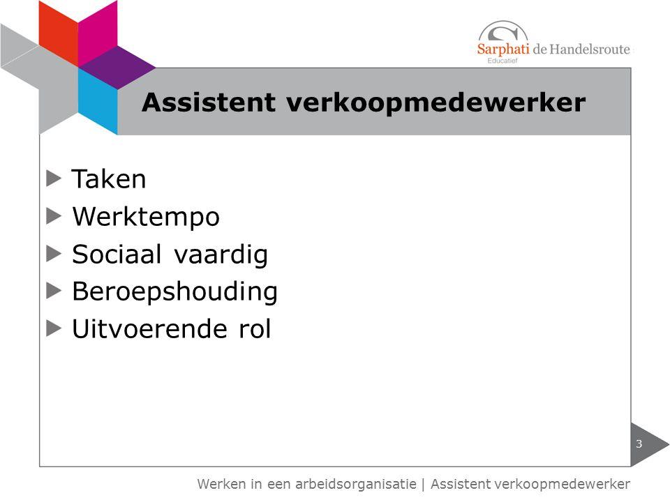 Werken in een arbeidsorganisatie | Assistent verkoopmedewerker Taken Werktempo Sociaal vaardig Beroepshouding Uitvoerende rol 3 Assistent verkoopmedew