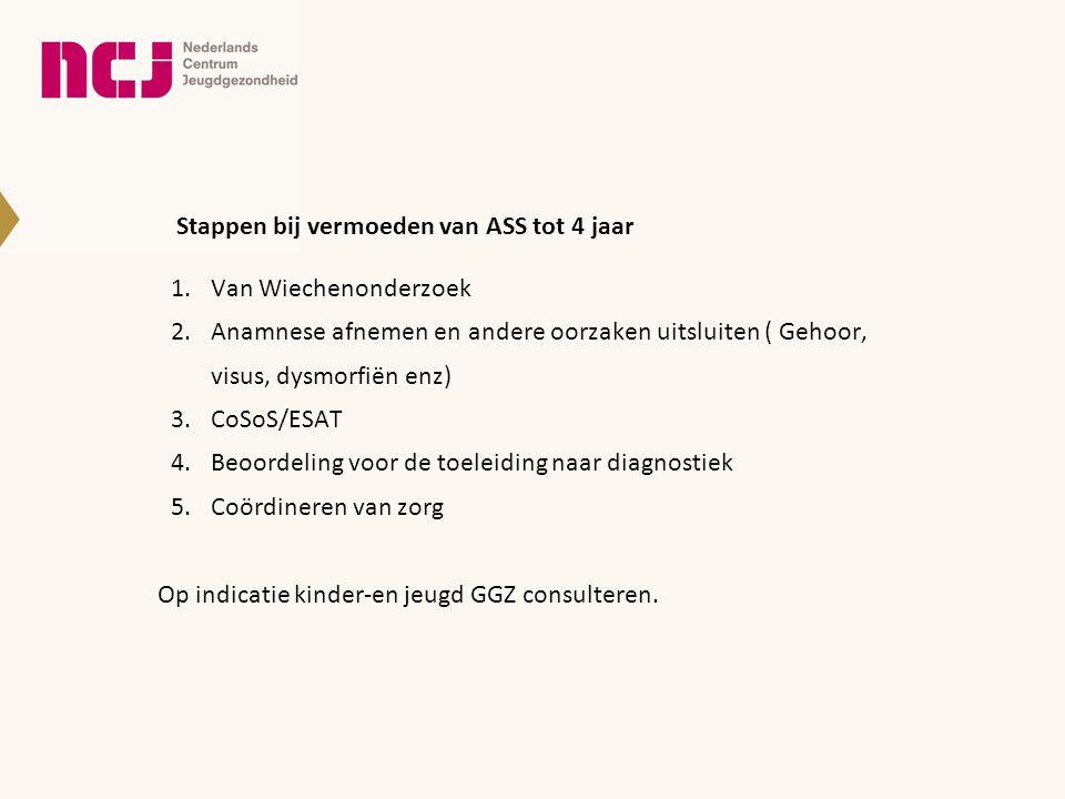 Stappen bij vermoeden van ASS tot 4 jaar 1.Van Wiechenonderzoek 2.Anamnese afnemen en andere oorzaken uitsluiten ( Gehoor, visus, dysmorfiën enz) 3.Co