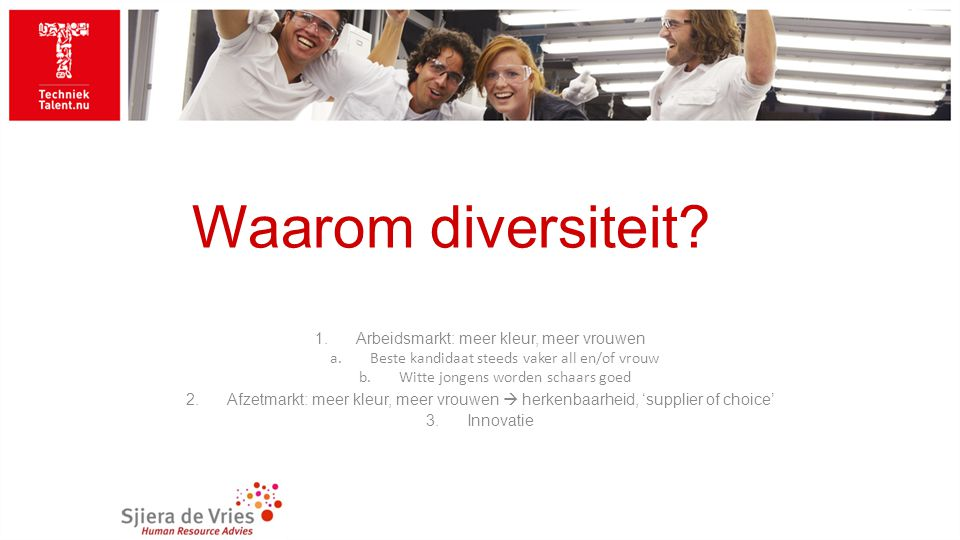 Waarom diversiteit? 1.Arbeidsmarkt: meer kleur, meer vrouwen a.Beste kandidaat steeds vaker all en/of vrouw b.Witte jongens worden schaars goed 2.Afze
