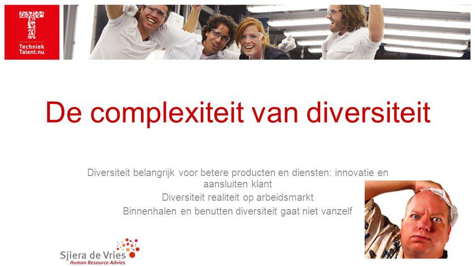 De complexiteit van diversiteit Diversiteit belangrijk voor betere producten en diensten: innovatie en aansluiten klant Diversiteit realiteit op arbeidsmarkt Binnenhalen en benutten diversiteit gaat niet vanzelf
