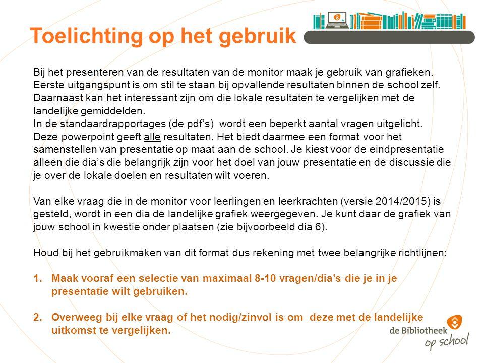 Er zijn leuke informatieboeken in de schoolbibliotheek Landelijk 2014 NB: bij deze vraag is het minder zinvol om lokale cijfers met landelijke te vergelijken School 2014