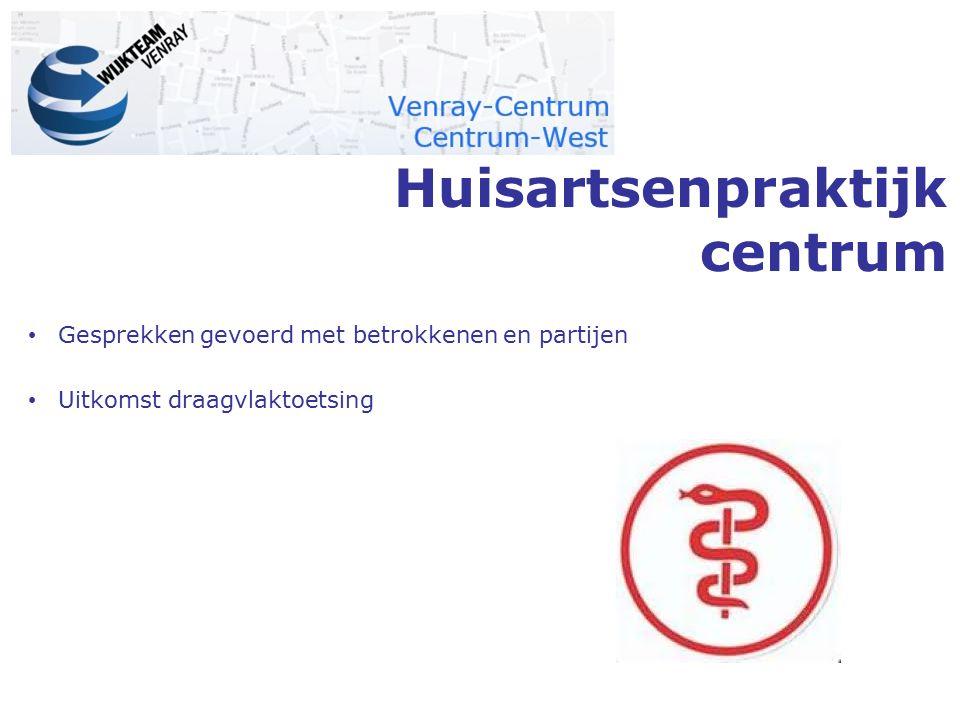 Huisartsenpraktijk centrum Gesprekken gevoerd met betrokkenen en partijen Uitkomst draagvlaktoetsing
