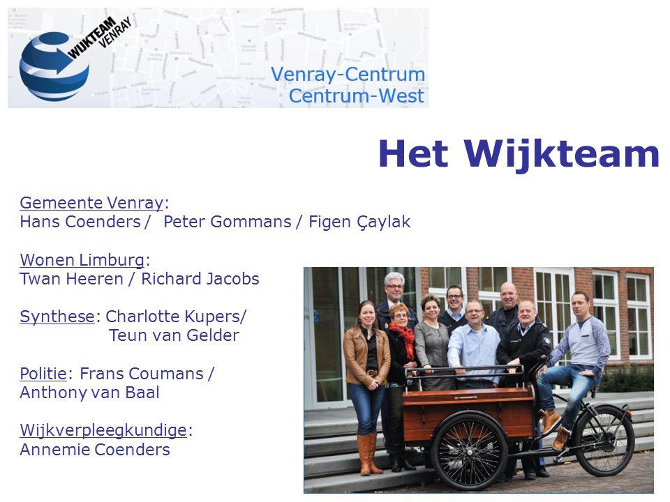 Het Wijkteam Gemeente Venray: Hans Coenders / Peter Gommans / Figen Çaylak Wonen Limburg: Twan Heeren / Richard Jacobs Synthese: Charlotte Kupers/ Teu