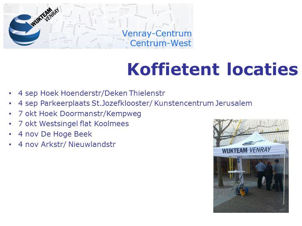 Koffietent locaties 4 sep Hoek Hoenderstr/Deken Thielenstr 4 sep Parkeerplaats St.Jozefklooster/ Kunstencentrum Jerusalem 7 okt Hoek Doormanstr/Kempwe
