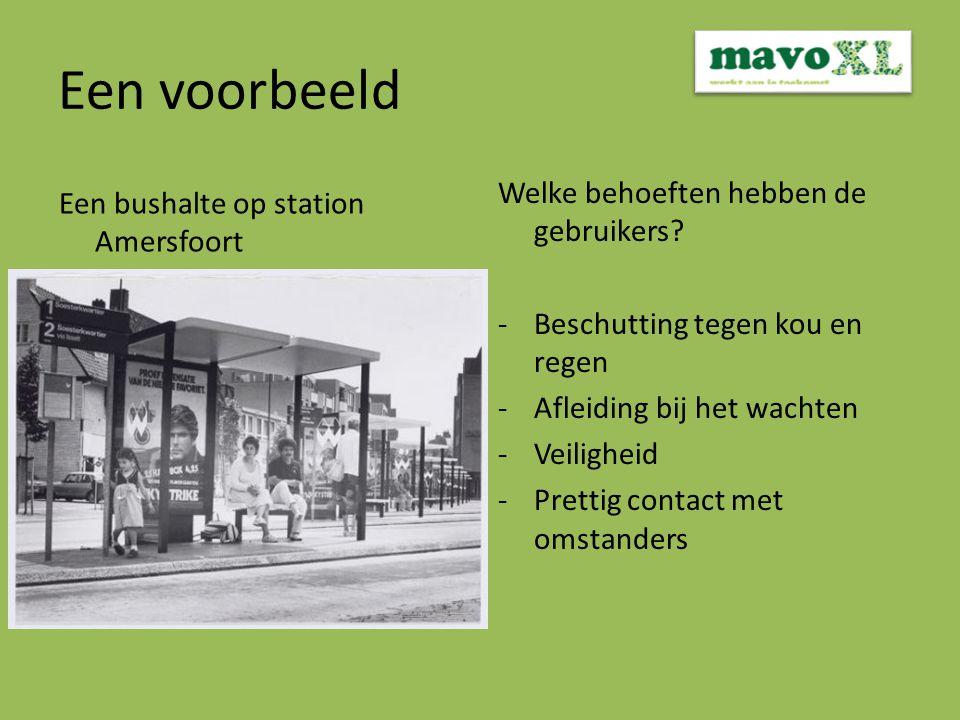 Een voorbeeld Een bushalte op station Amersfoort Welke behoeften hebben de gebruikers.