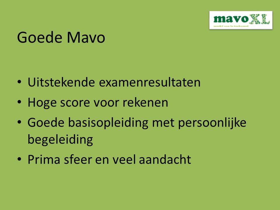 Goede Mavo Uitstekende examenresultaten Hoge score voor rekenen Goede basisopleiding met persoonlijke begeleiding Prima sfeer en veel aandacht