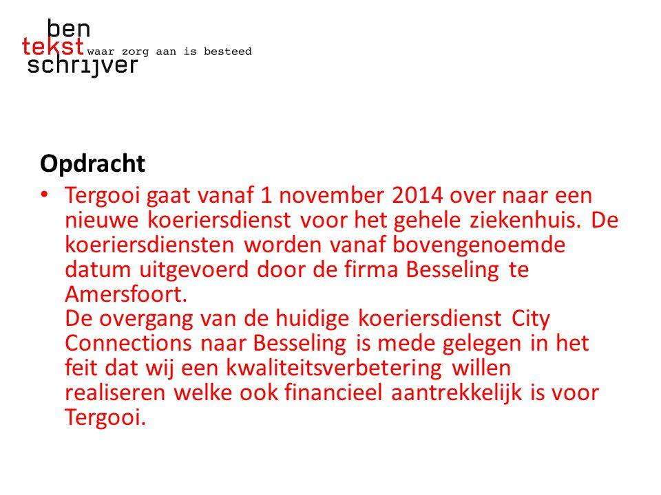 Opdracht Tergooi gaat vanaf 1 november 2014 over naar een nieuwe koeriersdienst voor het gehele ziekenhuis.
