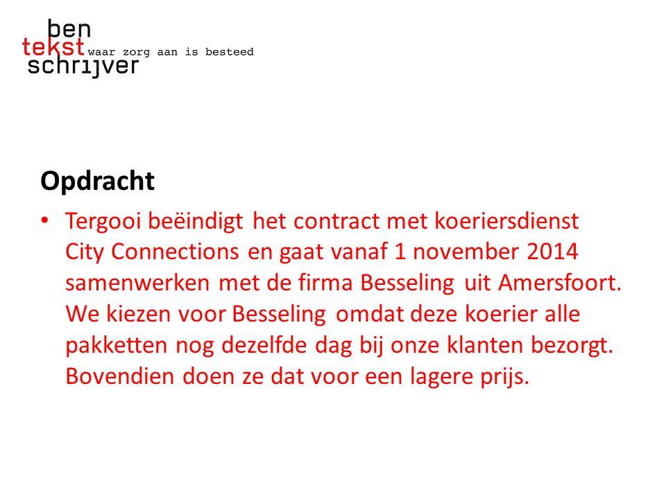 Opdracht Tergooi beëindigt het contract met koeriersdienst City Connections en gaat vanaf 1 november 2014 samenwerken met de firma Besseling uit Amersfoort.
