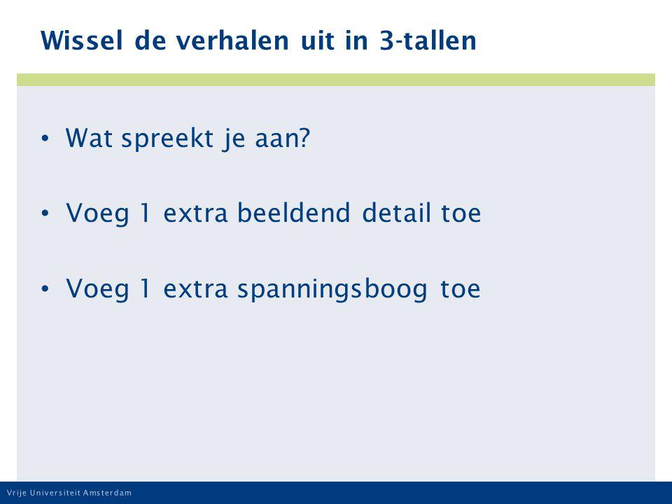 Vrije Universiteit Amsterdam Wissel de verhalen uit in 3-tallen Wat spreekt je aan.