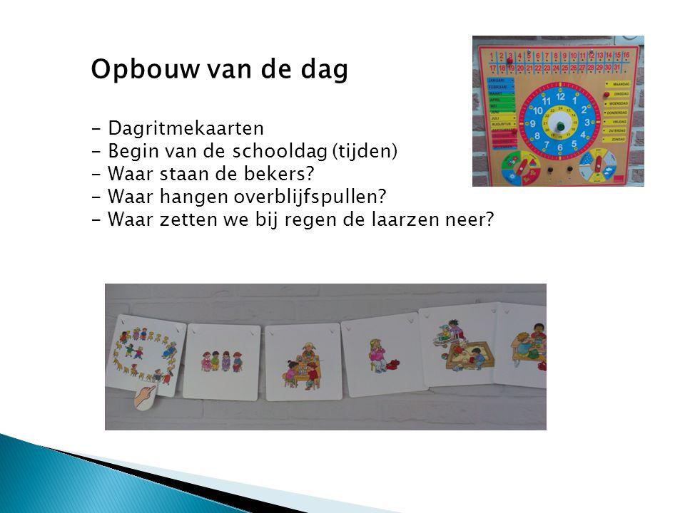 Opbouw van de dag - Dagritmekaarten - Begin van de schooldag (tijden) - Waar staan de bekers.