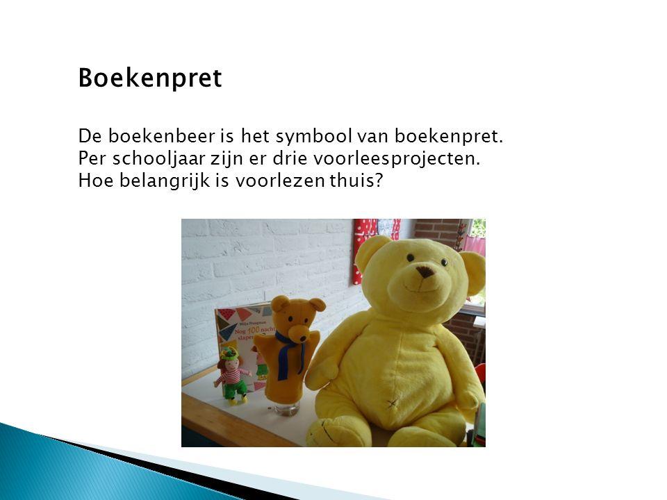 Boekenpret De boekenbeer is het symbool van boekenpret. Per schooljaar zijn er drie voorleesprojecten. Hoe belangrijk is voorlezen thuis?