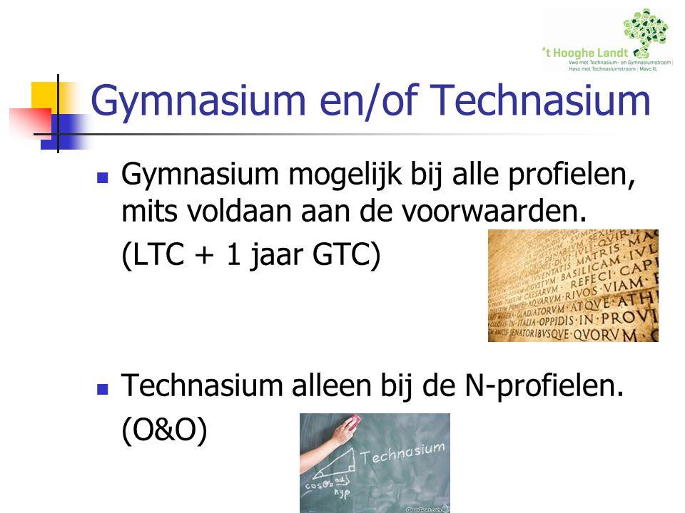 Gymnasium en/of Technasium Gymnasium mogelijk bij alle profielen, mits voldaan aan de voorwaarden.